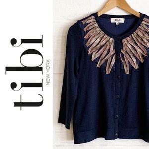 Tibi New York Wool Silk Feather Caridgan Sz S